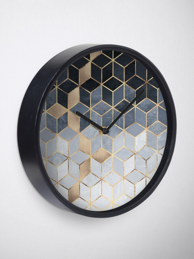 Alternate view of Soft Blue Gradient Cubes Clock