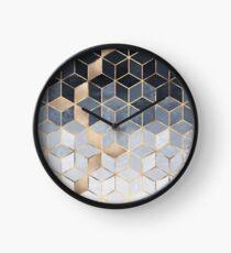 Soft Blue Gradient Cubes Clock