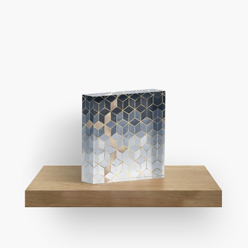 Soft Blue Gradient Cubes Acrylic Block