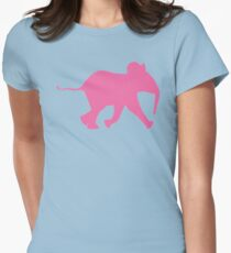 Cute Baby Elephant in Pink   African Wildlife Womens Fitted T-Shirt