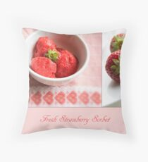 Fresh Strawberry Sorbet Throw Pillow