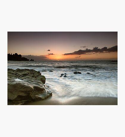 Sunset Surf Washing the Rocks Photographic Print