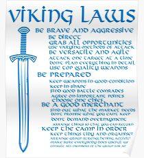 Viking Laws Scandinavian Warriors Schwert Blau Poster