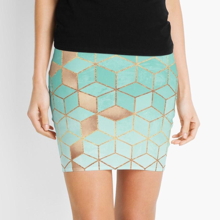 Soft Gradient Aquamarine Mini Skirt