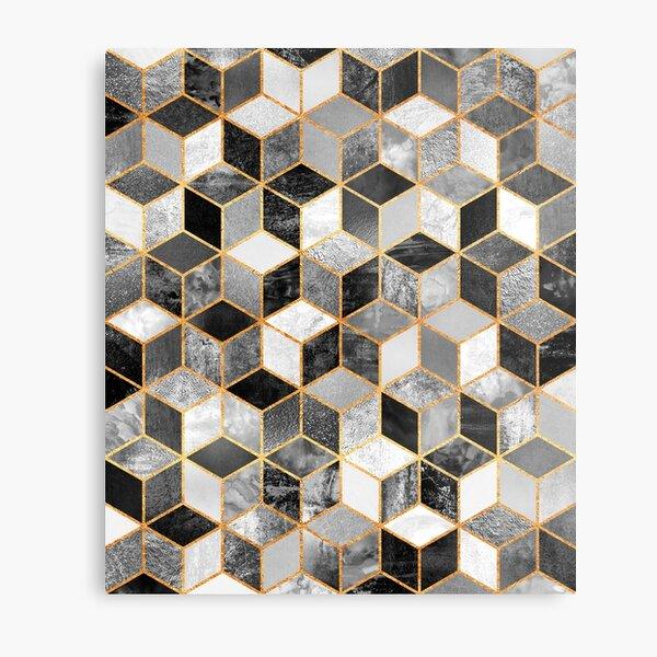 Black & White Cubes Metal Print