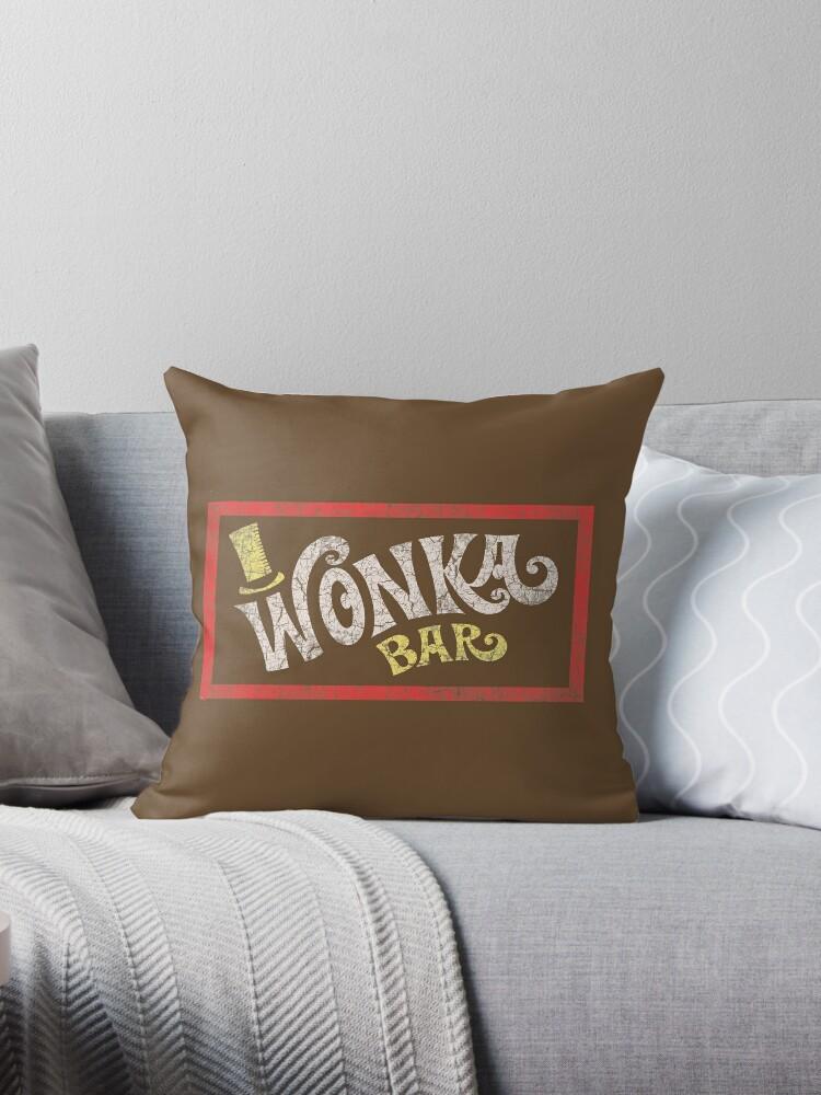 Cojines Sofa Chocolate.Wonka Bar Willy Wonka The Chocolate Factory Throw Pillow By Imsecretlygeeky