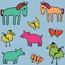 Striped Pigs and Ponies - Peach Melba - cute, fun pattern by Cecca Designs by Cecca-Designs