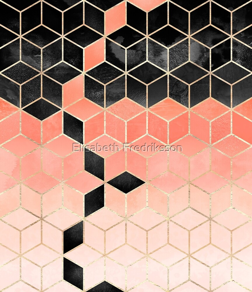 Black And Coral Cubes by Elisabeth Fredriksson