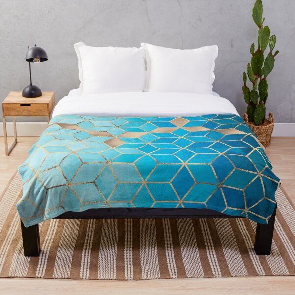 Sea And Sky Cubes Throw Blanket