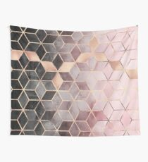 Pink And Grey Gradient Cubes Wall Tapestry
