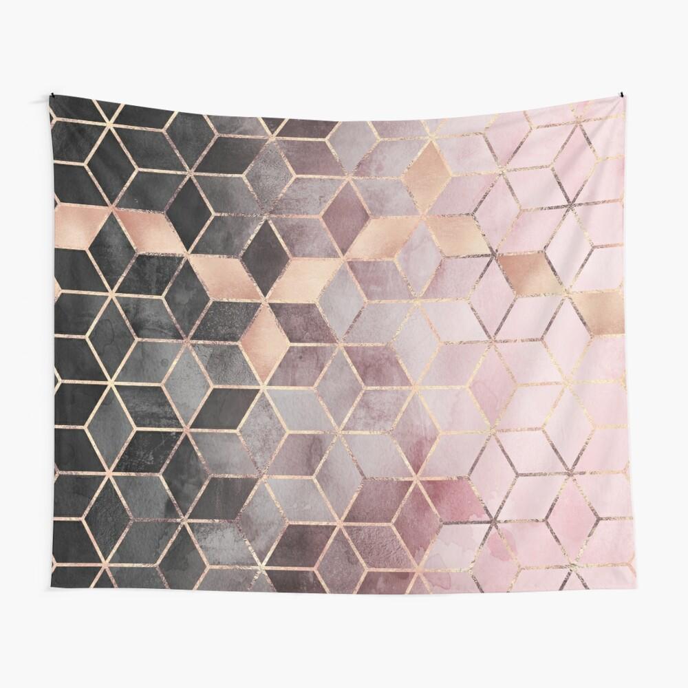 Cubos de color rosa y gris degradado Tela decorativa