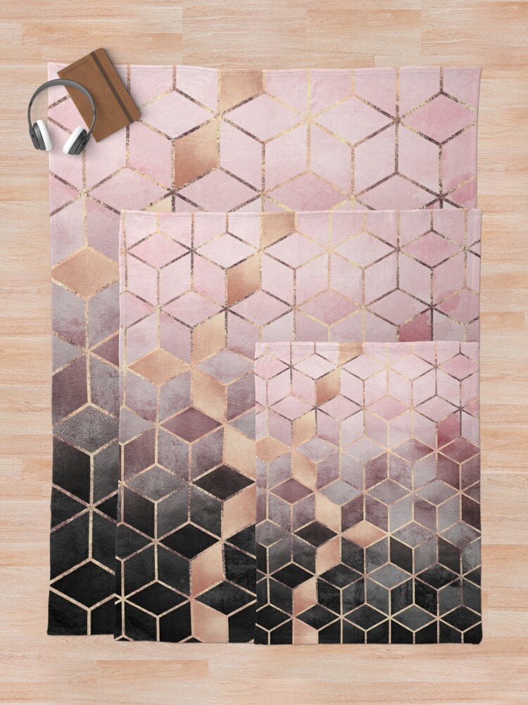 Alternate view of Pink And Grey Gradient Cubes Throw Blanket