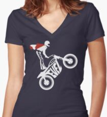 Evel Knievel Logo Women's Fitted V-Neck T-Shirt