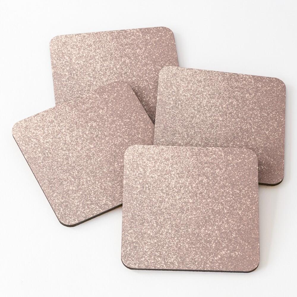 Pink Rose Gold Metallic Glitter Coasters (Set of 4)