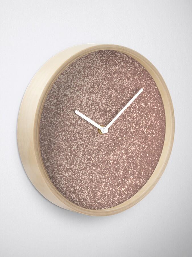 Alternate view of Pink Rose Gold Metallic Glitter Clock