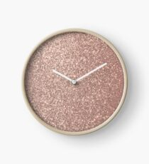Pink Rose Gold Metallic Glitter Clock