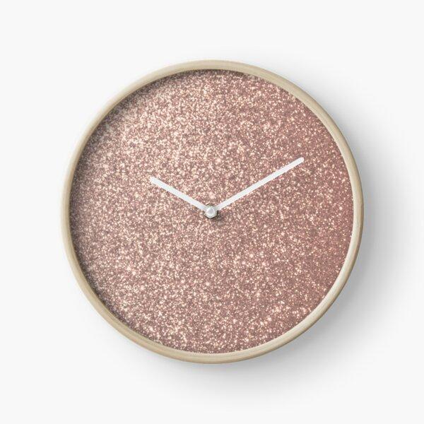 Pink Rose Gold Metallic Glitter Clock