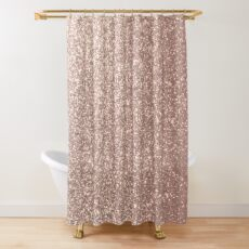 Pink Rose Gold Metallic Glitter Shower Curtain