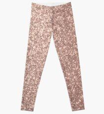 Pink Rose Gold Metallic Glitter Leggings