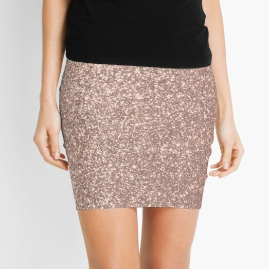 Pink Rose Gold Metallic Glitter Mini Skirt
