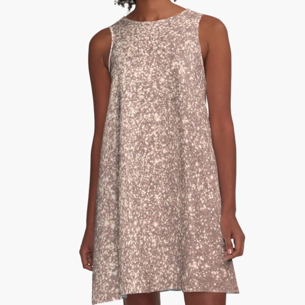 Pink Rose Gold Metallic Glitter A-Line Dress
