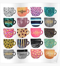 Pretty Coffee Cups Poster