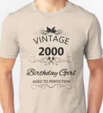 Vintage 2000 Birthday Girl Aged To Perfection T-Shirt