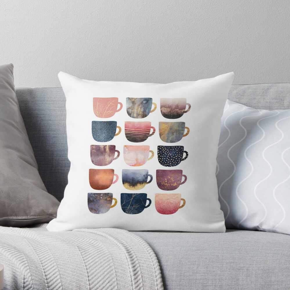 Pretty Coffee Cups 2 Throw Pillow