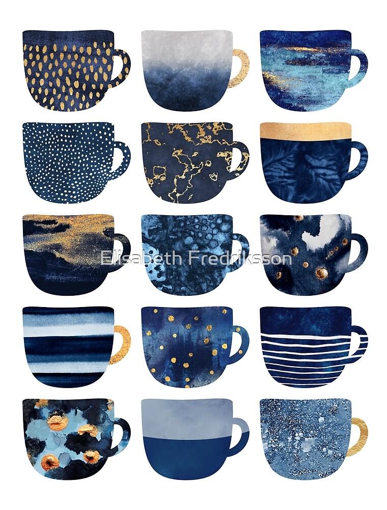 Pretty Blue Coffee Cups by Elisabeth Fredriksson