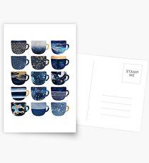 Pretty Blue Coffee Cups Postcards