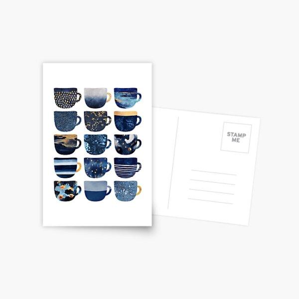 Hübsche blaue Kaffeetassen Postkarte