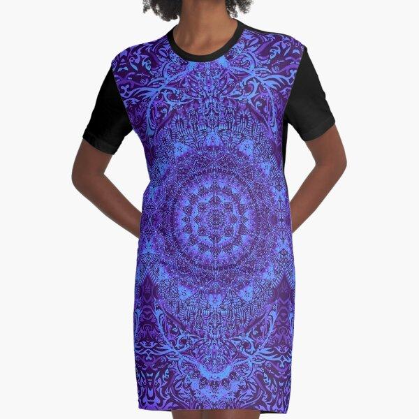 Indigo Mandala Graphic T-Shirt Dress