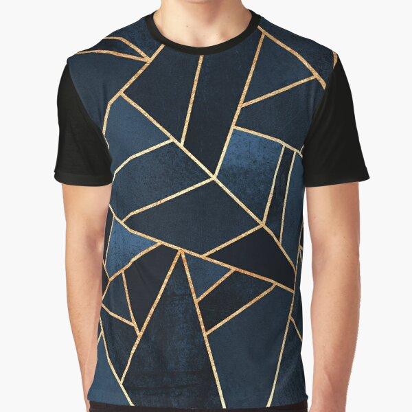 Navy Stone Grafik T-Shirt