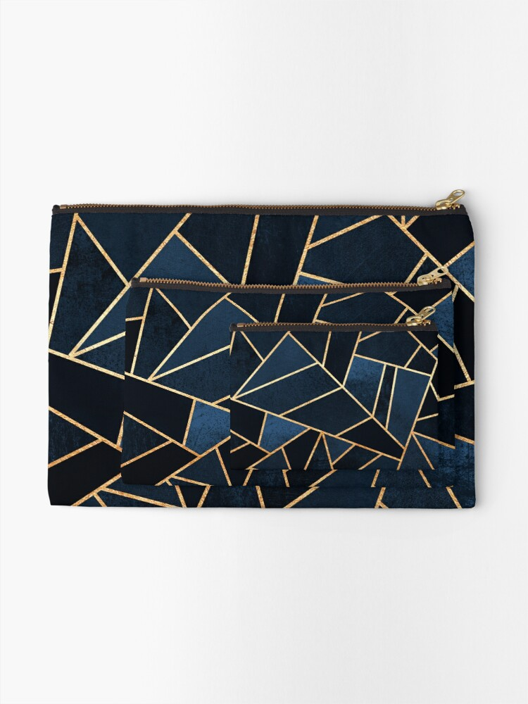 Alternate view of Navy Stone Zipper Pouch