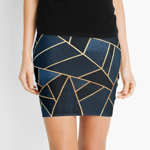 Navy Stone Mini Skirt