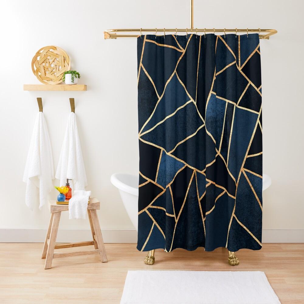 Navy Stone Shower Curtain