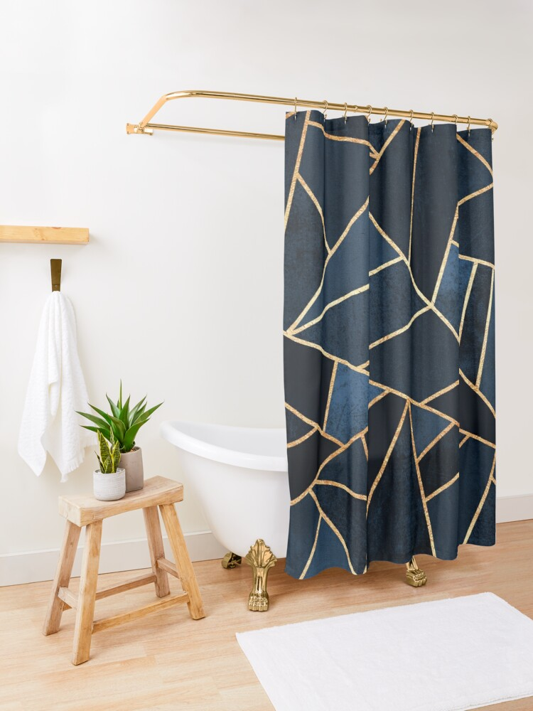 Alternate view of Navy Stone Shower Curtain