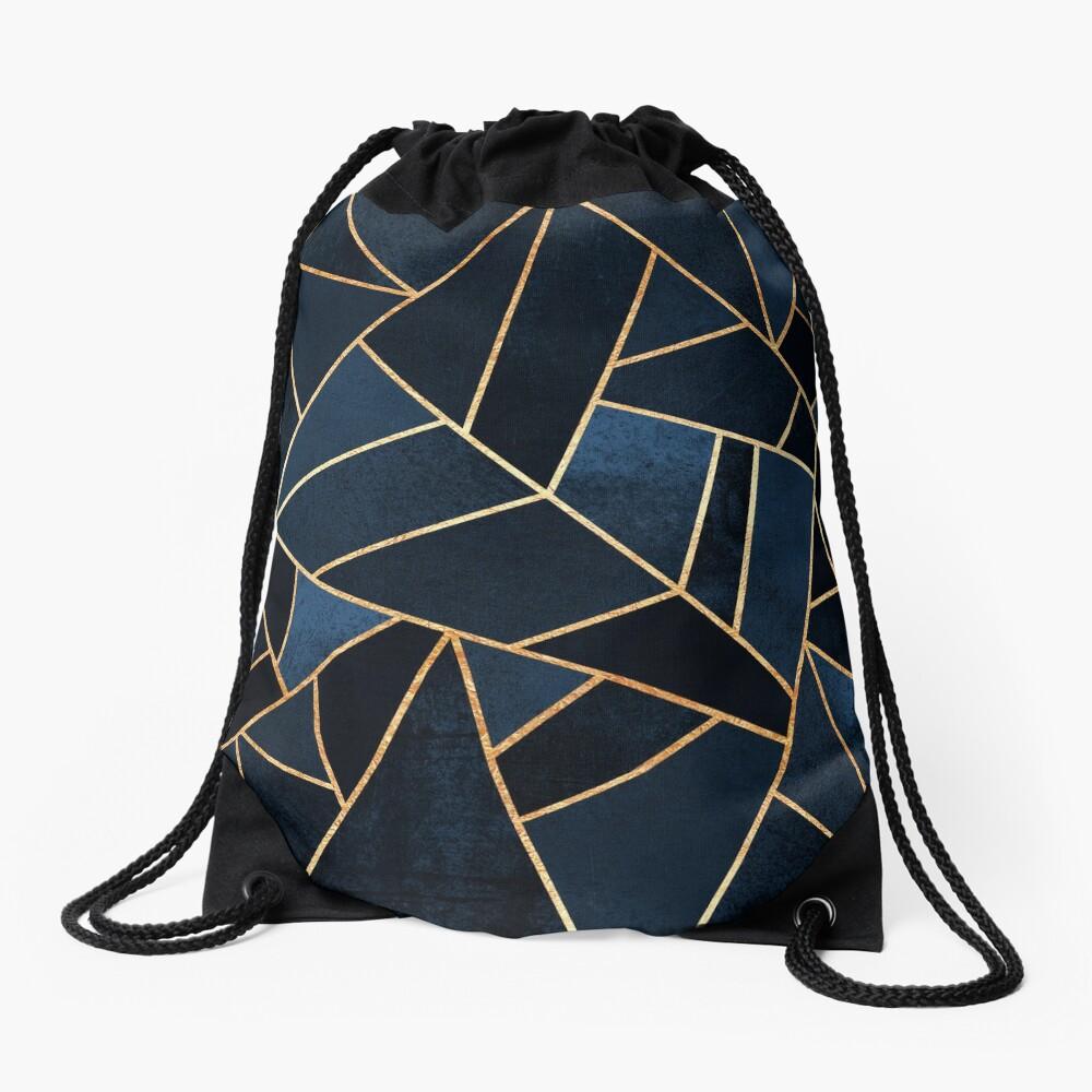 Navy Stone Drawstring Bag