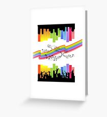 music notes dance silhouette Greeting Card