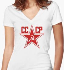 Russian Soviet Red Star CCCP Women's Fitted V-Neck T-Shirt