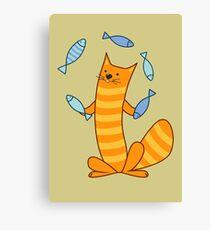 Cat juggling fish Canvas Print