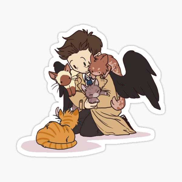 Castiel and Kittens V2 Sticker