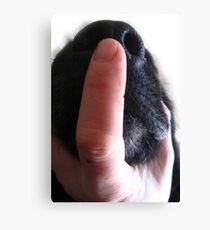 DOG NOSE FINGER Canvas Print