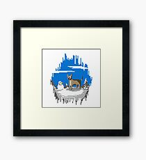 Pixel Art Mountain Llama Dog Framed Print