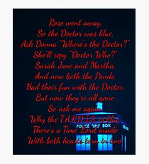 Doctor Who Poem Photographic Print