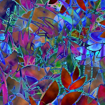 Floral Abstract Stained Glass G174 by Medusa81