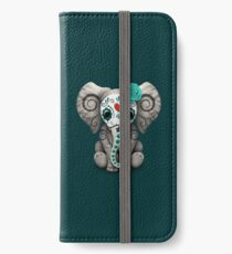 Vinilo o funda para iPhone Teal Blue Day of the Dead Sugar Skull Baby Elephant