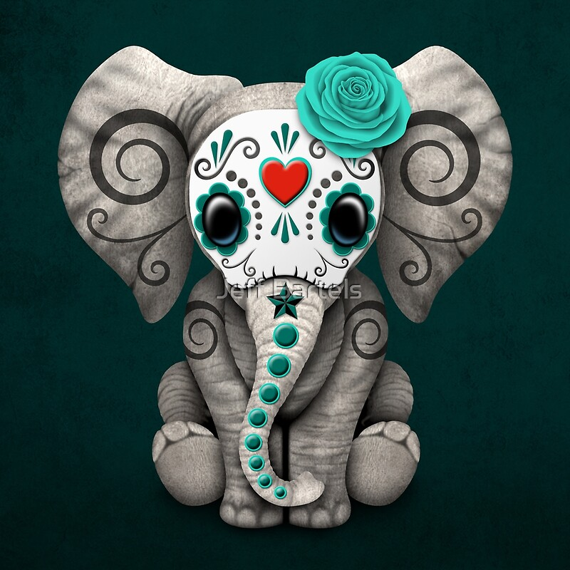 """Teal Blue Day of the Dead Sugar Skull Baby Elephant"" Art ..."
