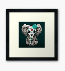 Teal Blue Day of the Dead Sugar Skull Baby Elephant Framed Print