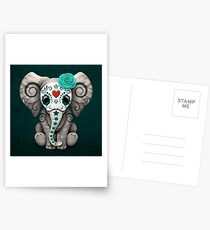 Teal Blue Day of the Dead Sugar Skull Baby Elephant Postcards